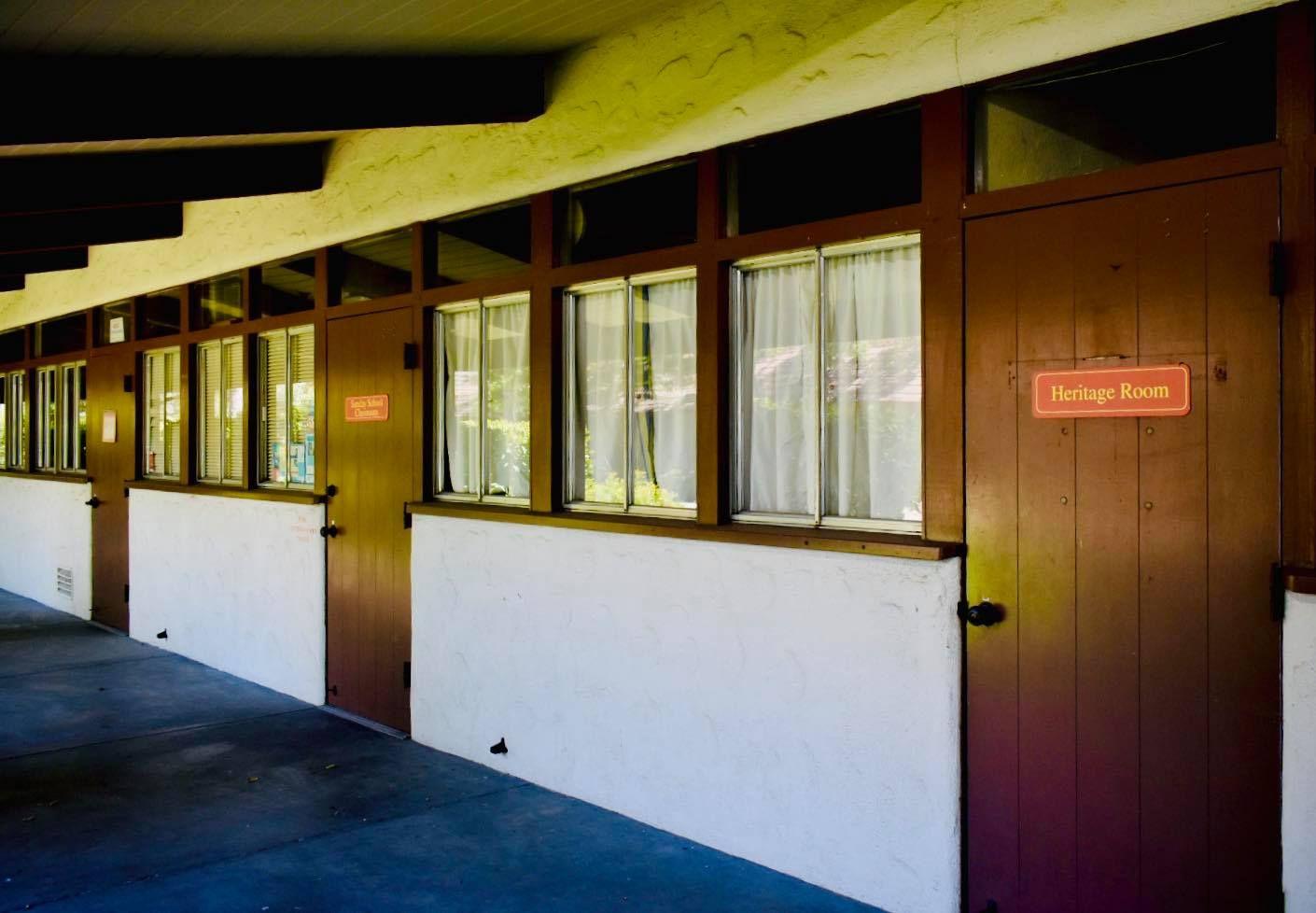 Exterior view of door labeled Heritage Room at Good Samaritan Church, San Jose CA